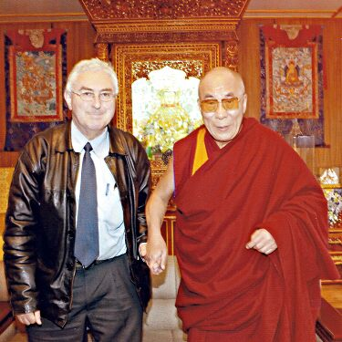 Tibetan Medicine Physician Barry Clark and His Holiness the Fourteenth Dalai Lama durng in Dharamsala